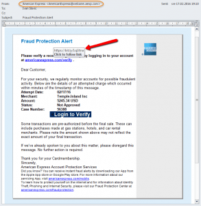 Primer email poruke koja sadrži fišing link